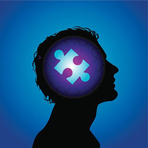 puzzled head vector art illustration