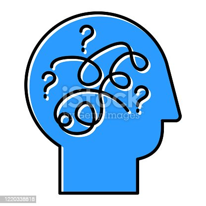 Puzzled mind blue color icon. Mental exercise, challenge. Ingenuity, intelligence test. Critical thinking. Brain teaser. Logic questions. Solution finding porcess. Isolated vector illustration