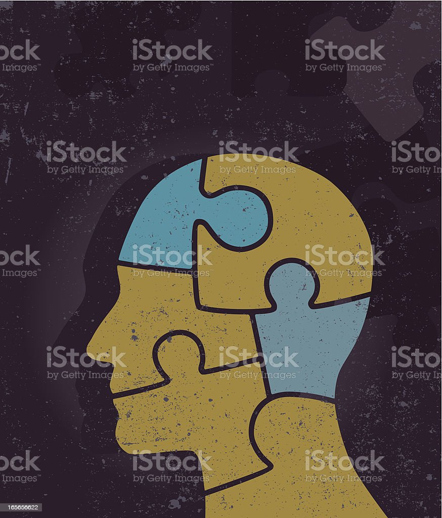 Puzzled? vector art illustration