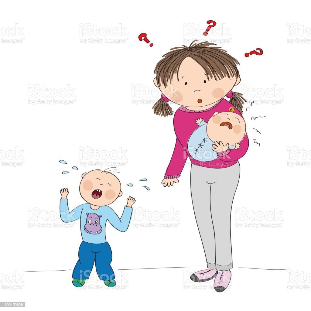 泣いている 2 人の子どもを持つ若い母親は困惑したオリジナル手描き下ろしイラスト 3人のベクターアート素材や画像を多数ご用意 Istock