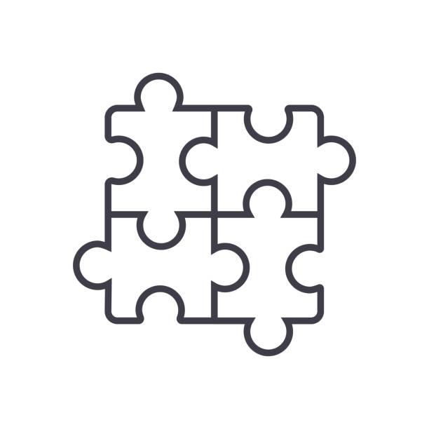 puzzle, puzzle-vektor-linie-symbol, zeichen, abbildung auf hintergrund, editierbare striche - puzzle stock-grafiken, -clipart, -cartoons und -symbole
