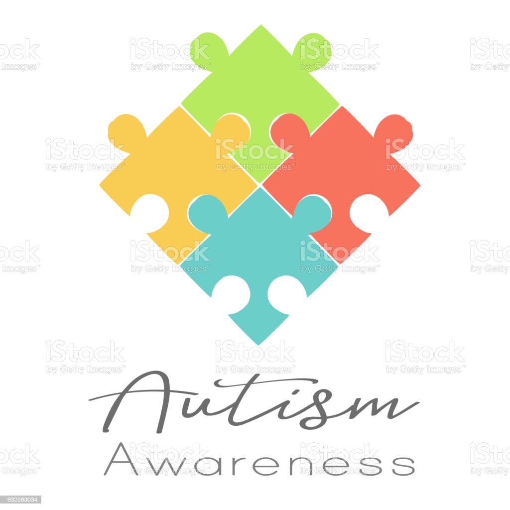 Puzzles and Autism Awareness vector art illustration