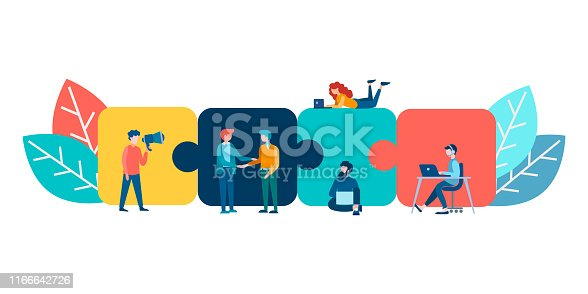 istock Puzzles as symbols of parts of the whole, work on the project in a team. 1166642726
