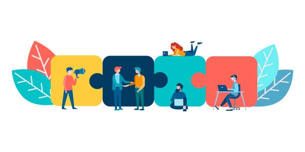 Puzzles as symbols of parts of the whole, work on the project in a team. Vector illustration of teamwork. Puzzles as symbols of parts of the whole, work on the project in a team. communication stock illustrations