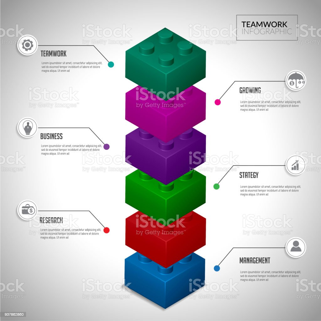 Puzzles block step element for infographic. vector art illustration