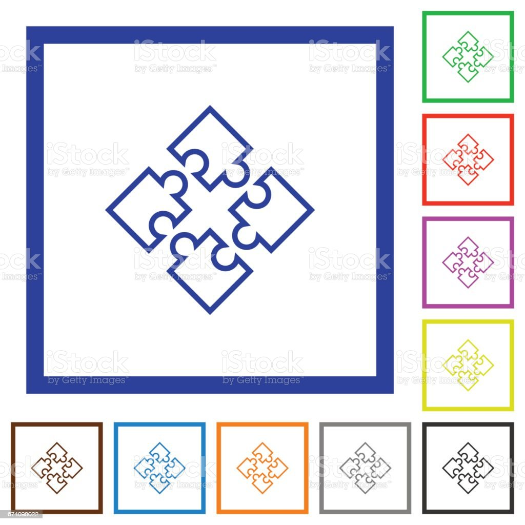 Puzzles framed flat icons royalty-free puzzles framed flat icons stock vector art & more images of applying