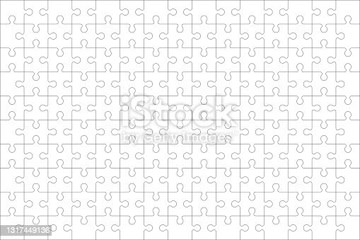 istock Puzzles grid - blank template. Jigsaw puzzle with 150 pieces. Mosaic background for thinking game is 15x10 size. Game with details. Vector 1317449136