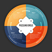 Vector illustration of puzzling circle infographic design element.