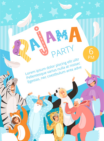 Pyjamas party. Poster invitation for costume nightwear clothes pyjamas celebration kids and parents vector placard