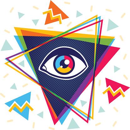 Pyramid and eye.