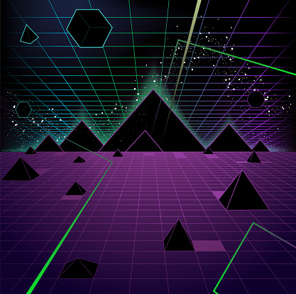 Pyramid Background Retro 80's Style Fashion Triangle