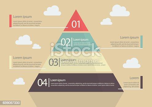 istock Pyramid Chart Flat Style Infographic 639067330