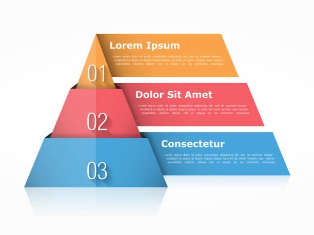 pyramide tabelle drei elemente - geometriestunde grafiken stock-grafiken, -clipart, -cartoons und -symbole