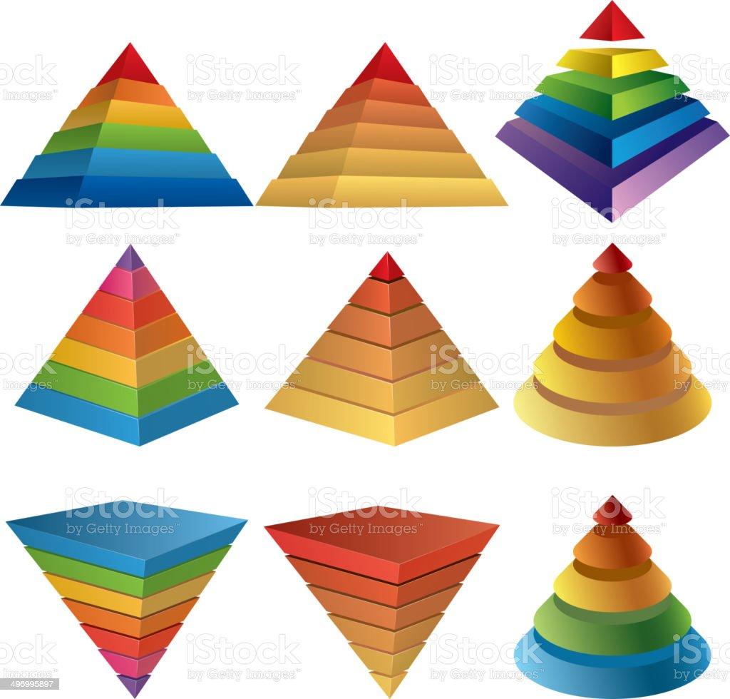 Pyramid charts vector art illustration