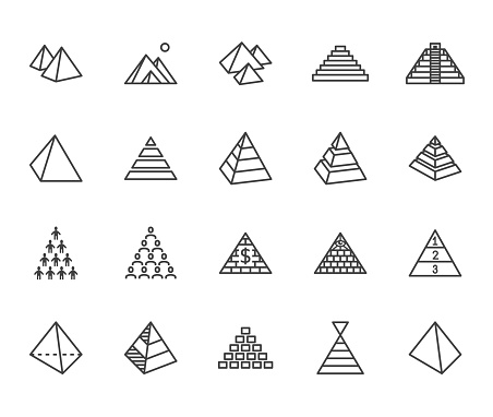 Pyramid Flat Line Icon Set Egyptian Monument Abstract