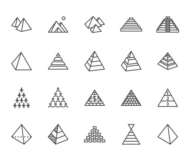 pyramid flat line icon set. egyptian monument, abstract process infographic, ponzi scheme, network marketing, leader concept vector illustrations, outline signs. pixel perfect 64x64. editable strokes - conspiracy stock illustrations