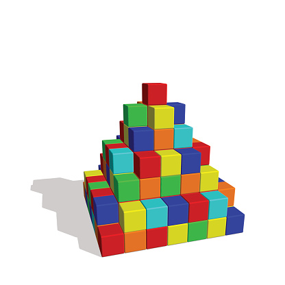 Pyramid from toy building blocks. Vector colorful illustration.