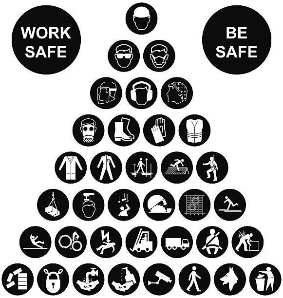 Pyramid Health and Safety Icon collection Black and white construction manufacturing and engineering health and safety related pyramid icon collection isolated on white background with work safe message hair net stock illustrations