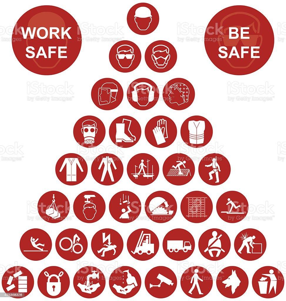 Pirámide colección de iconos de salud y seguridad - ilustración de arte vectorial
