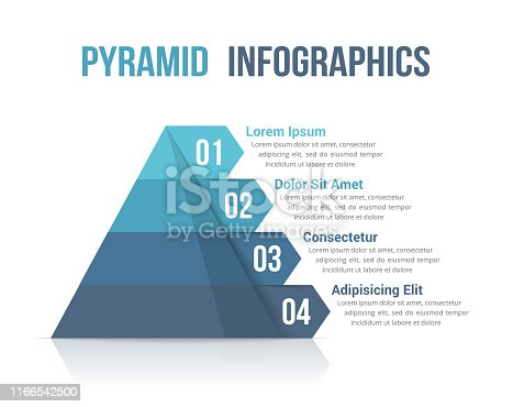 Pyramid with four segments, infographic template for web, business, reports, presentations, etc, vector eps10 illustration