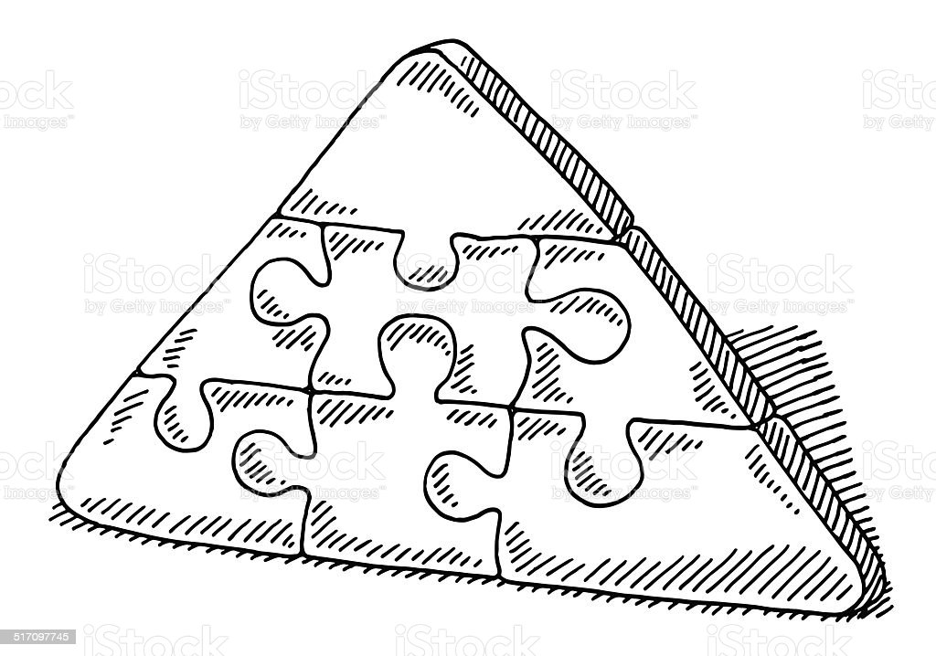 Pyramid Jigsaw Puzzle Connection Drawing vector art illustration