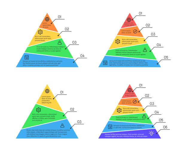pyramid, layers chart infographic vector elements with different numbers of - пирамида stock illustrations