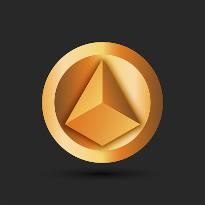 Pyramid logo for cryptocurrency on a round gold background volumetric 3d geometric shape yellow gradient.