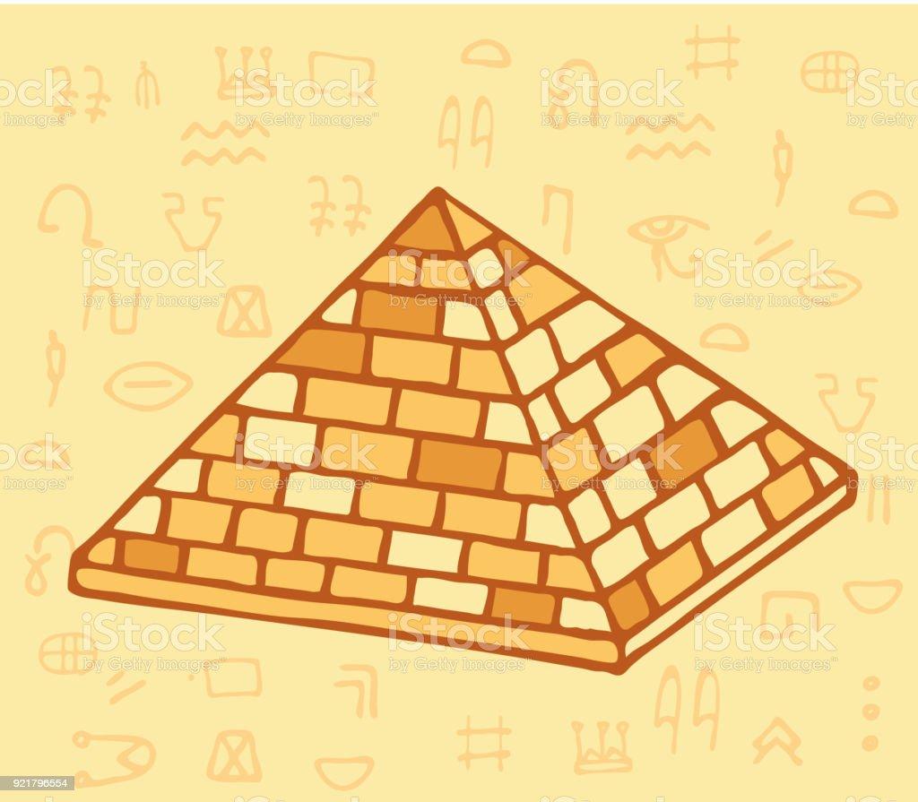 Pyramid of ancient Egypt of blocks vector art illustration