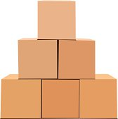 A pyramid of cardboard boxes isolated on white