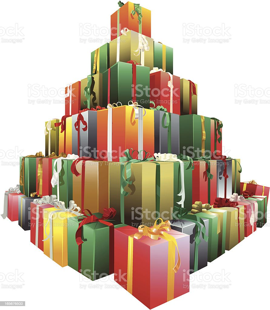 Pyramid of gift boxes royalty-free pyramid of gift boxes stock vector art & more images of abundance