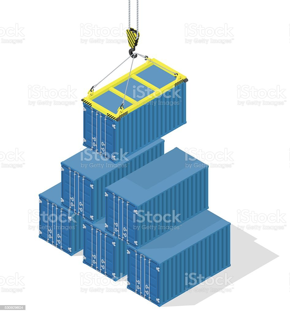 Pyramid of sea containers vector art illustration