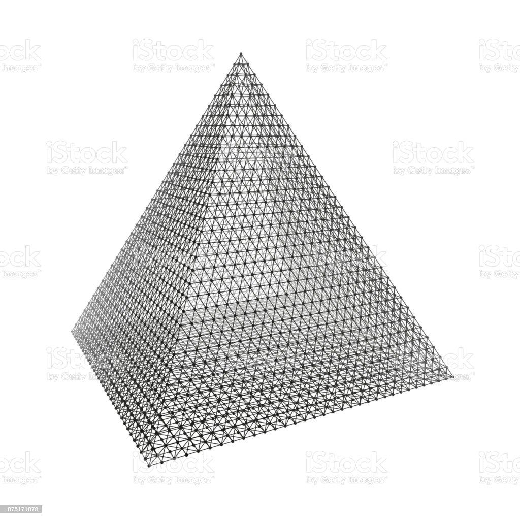 Pyramid. Regular Tetrahedron. Platonic Solid. Regular, Convex Polyhedron. 3D Connection Structure. Lattice Geometric Element for Design. Molecular Grid. Wireframe Mesh Polygonal Element. vector art illustration