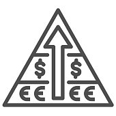 Pyramid with dollar, euro symbol and arrow up line icon, business strategy concept, financial pyramid sign on white background, pyramid savings graph icon in outline style. Vector graphics