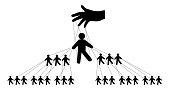 Pyramidal management of people, silhouette vector