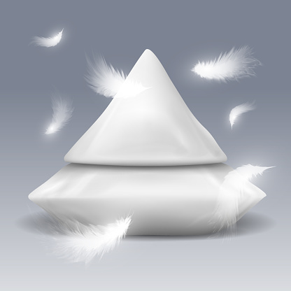 Pyramide from pillows with white feathers vector