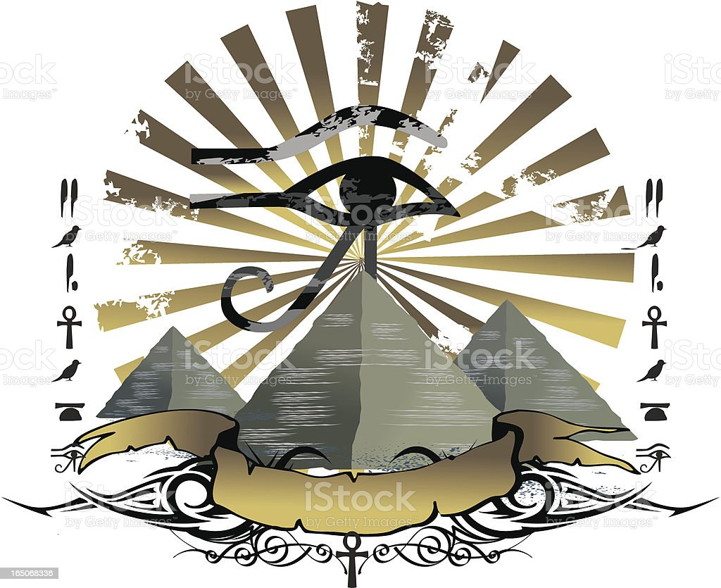 pyramids and horus eye emblem vector art illustration
