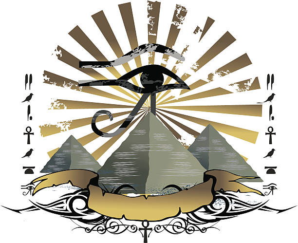 pyramids and horus eye emblem vector art illustration