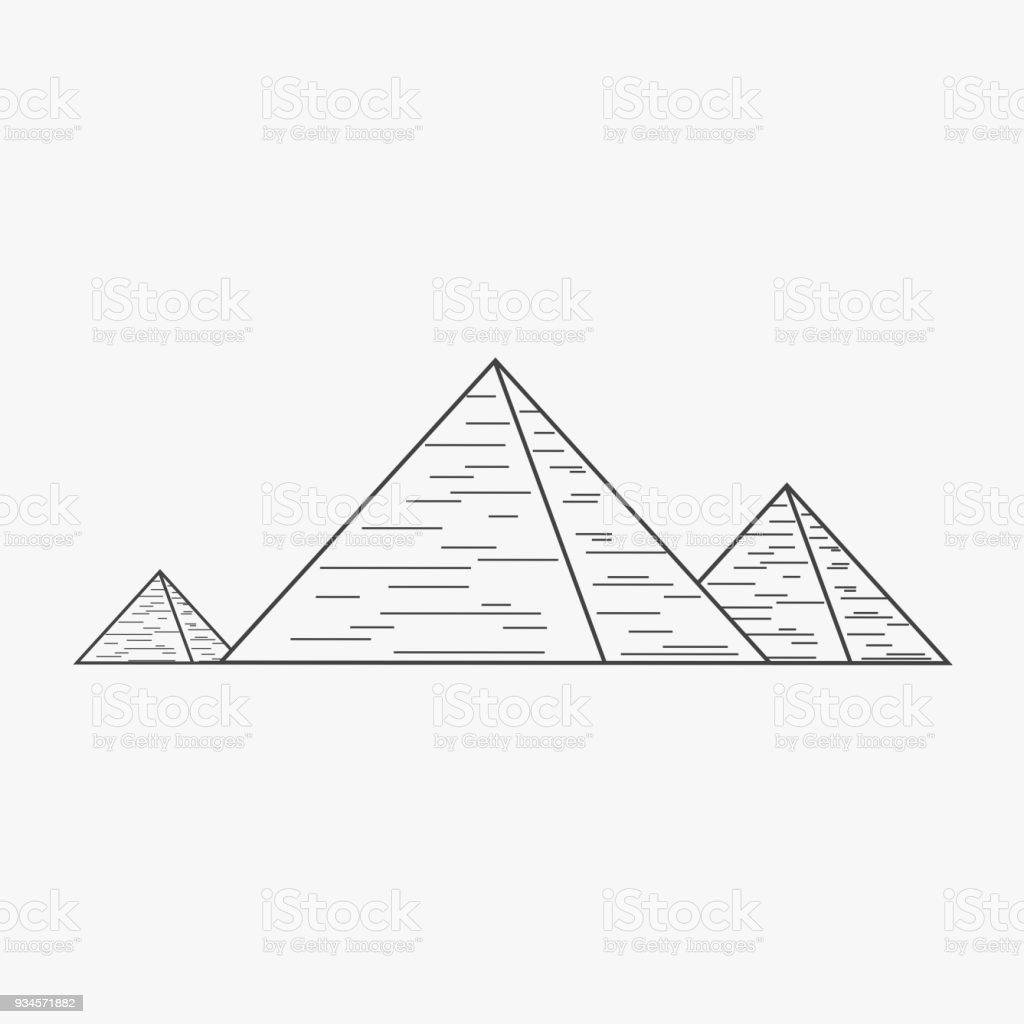 Vetores De Plano De Piramides Icone De Desenho De Contorno Preto E