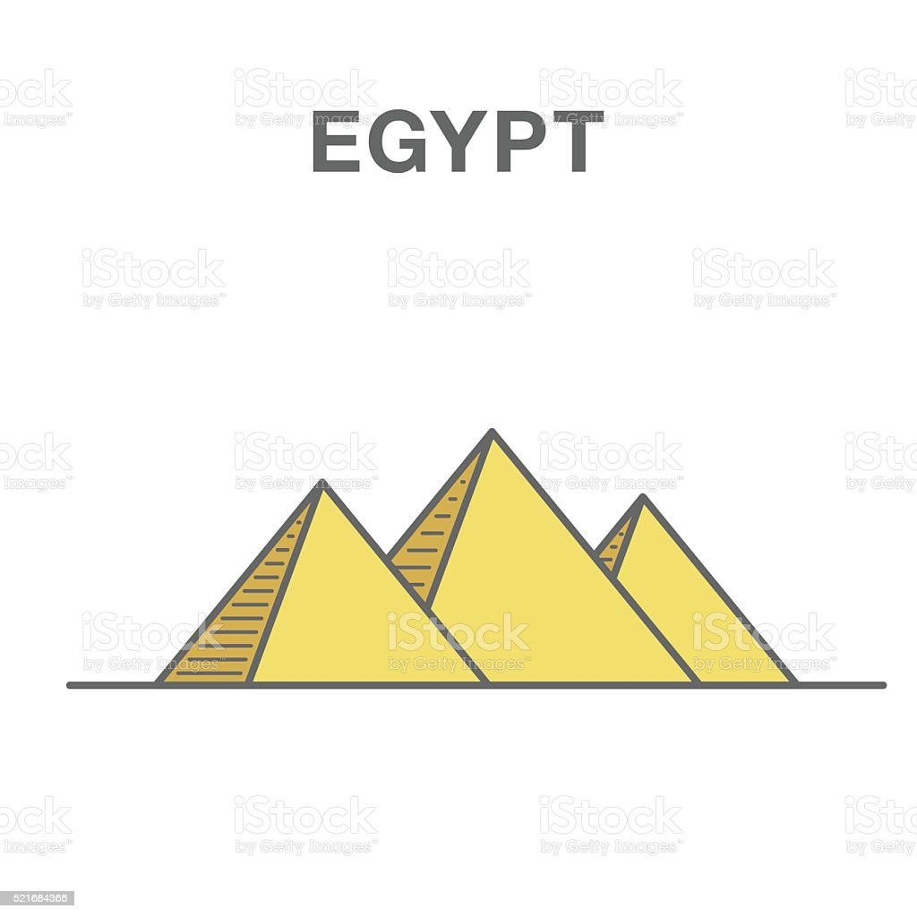 Pyramids from the Giza Plateau color illustration vector art illustration