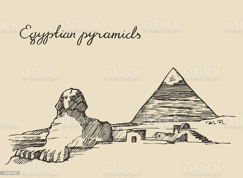 Pyramids Great Sphinx, Giza in Cairo Egypt sketch vector art illustration