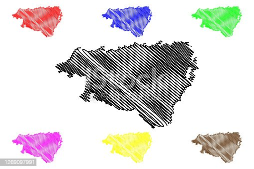 istock Pyrenees-Atlantiques Department (France, French Republic, Nouvelle-Aquitaine region) map vector illustration, scribble sketch Pirinio Atlantikoak map 1269097991