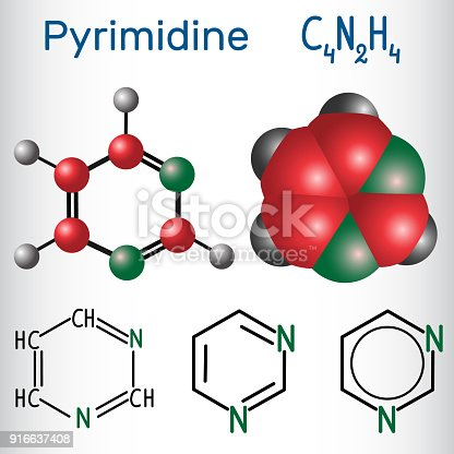 istock Pyrimidine molecule, is an aromatic heterocyclic organic compound. Structural chemical formula and molecule model 916637408