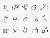 pyrotechnic and firework icons. thin lines