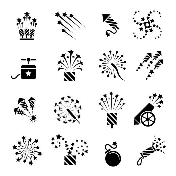 Pyrotechnic black icons Pyrotechnic icons. Festival celebration sparkle burst, fun dynamite and firework star explosion signs, vector illustration pyrotechnic effects stock illustrations