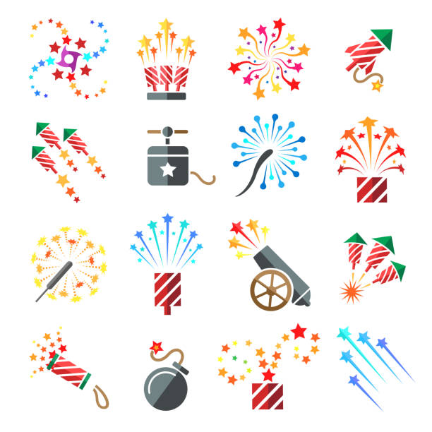 Pyrotechnic colored icons Pyrotechnic colored icons. Holiday sky fire crackers and cracker sparklers color firework rockets isolated on white background, vector illustration pyrotechnic effects stock illustrations