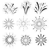 Pyrotechnic line icons. Fireworks and celebration Retro Sun burst shapes. Vintage starburst logo, labels, badges. Vector design elements isolated.