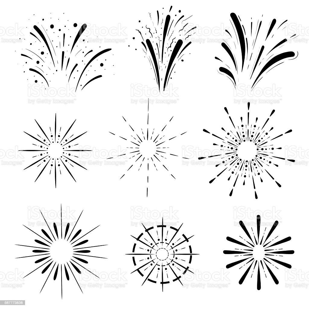 Pyrotechnic line icons. Fireworks and celebration Retro Sun burst shapes. vector art illustration