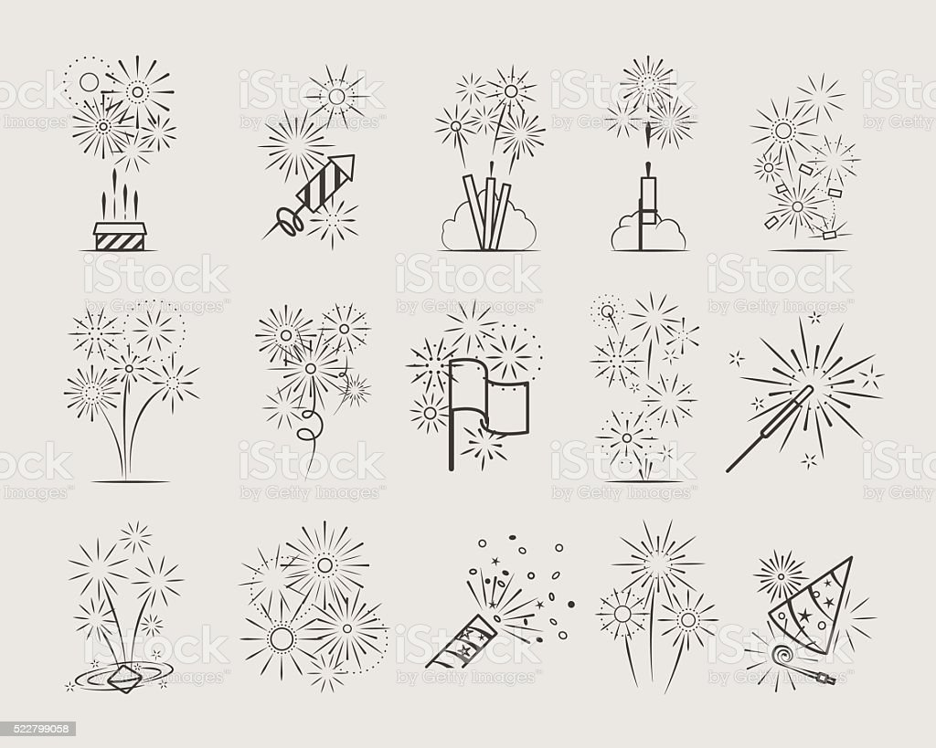 Pyrotechnic line icons vector art illustration