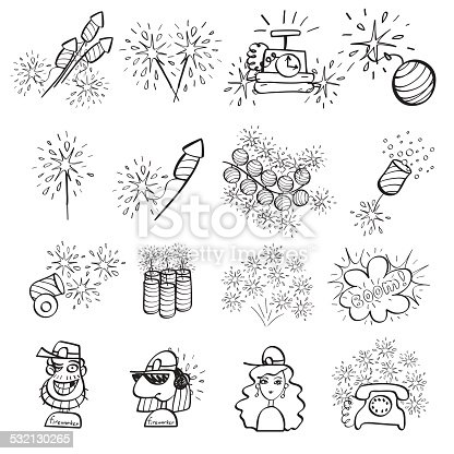 Fireworks set of icons painted by hand