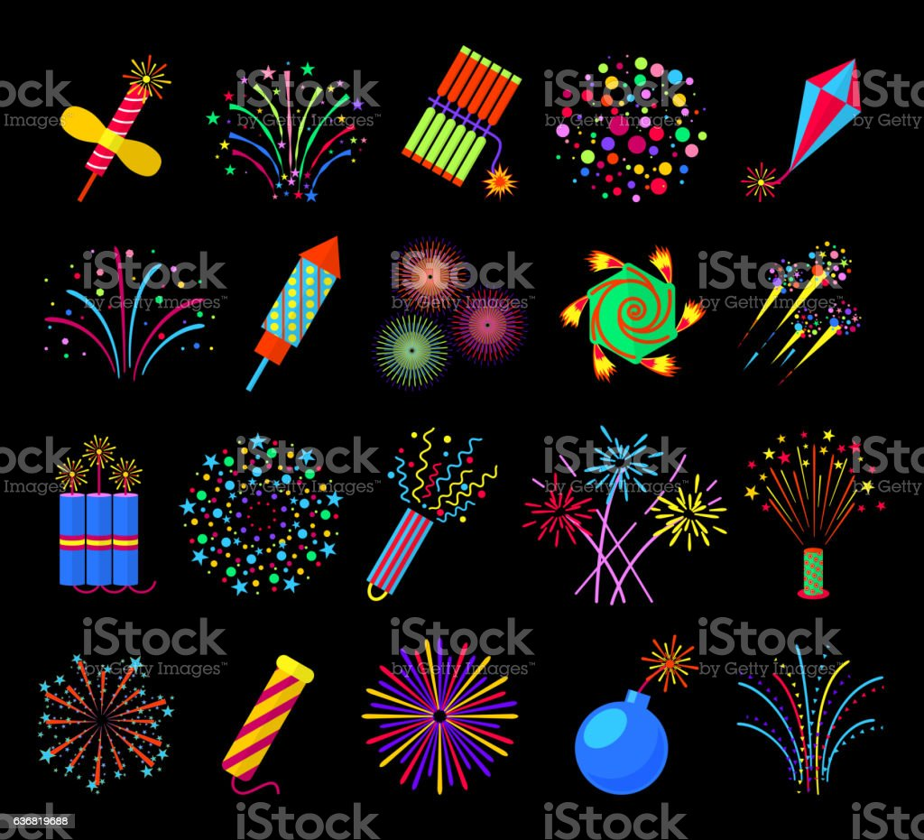 Pyrotechnics and fireworks vector illustration, petards fire crackers signs vector art illustration